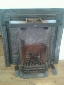 Full Cast Iron Black Victorian Complete Fireplace