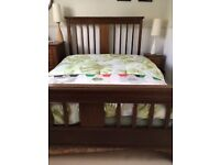 Mahogany double bed with marquetry detailing for sale