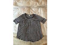 H&M tshirt, bue and white stripes