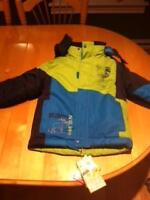 BOYS NAVY BLUE AND GREEN SNOWSUIT FOR SALE.