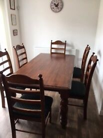 Wooden 7 piece dining set - W100 x H184 x H75cm