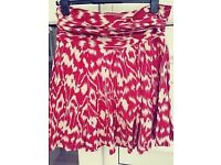 Size 12 Red Herring lined cotton skirt with pretty beaded pattern around the hem.