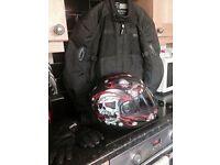 Helmet, gloves and jacket