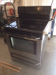 Black and stainless stove