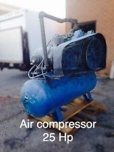 24 HP.  Air compressor, used with 120 gal tank
