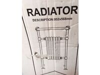 NEW NEVER USED TRADITIONAL TOWEL RADIATOR SURPLUS ON PROJECT HEIGHT 952mm x WIDTH 568mm