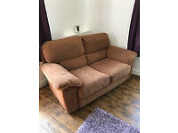 2 Seater Suede Sofa Good Condition and 3 Seater cream leather sofa FREE must be collected and asap