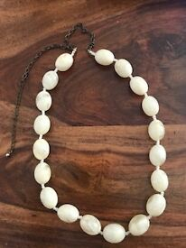 Cream and white beaded necklace