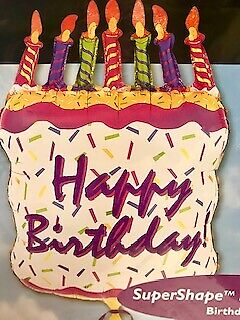 HAPPY BIRTHDAY SUPERSHAPE CAKE WITH CANDLES BALLOON