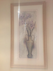 (2) large wall art, flowers w/vases, deco pieces, wall sconces w