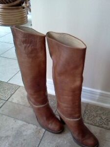 Exquisite Leather Boots, Custom Made, High heels 7.5 size