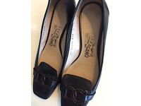 FERRAGAMO black high heels UK4