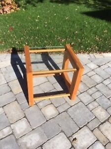 Solid pine end tables with glass top.  Home made.