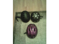 3 medium to large cycle helmets good condition 5 pound the lot