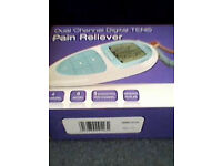 Unused TENS machine for sale. Pain relief for a variety of conditions such as arthritis, bad backs