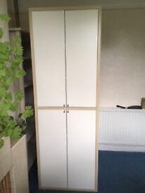 IKEA storage cupboard, with shelves. Height 198cm x w 69.3 x d 59.3 cms.