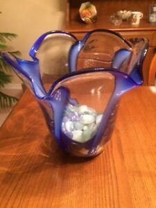 Vase with Blue Accents
