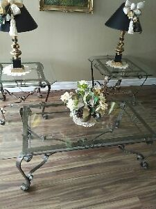 glass coffee and end tables with scrolly base