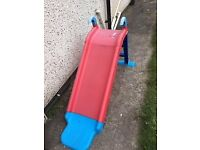 Red and blue childrens outdoor slide