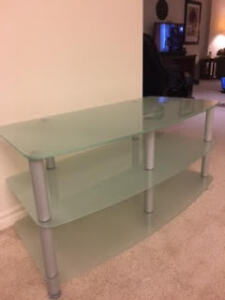 3 Tier Frosted Glass TV Stand
