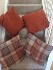 Large 'Next' Ginger Rustic Woven Check Cushion Set