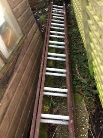 Double 13 step wooden/aluminium ladders
