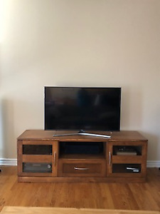 Custom Made Solid Wood TV Stand - Like New