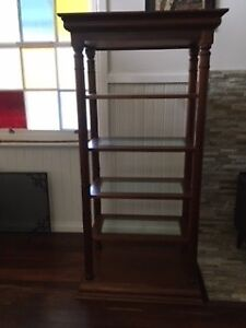 Wooden bookcase weigh glass shelves Margaret River Margaret River Area Preview