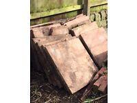 21 red garden paving slabs