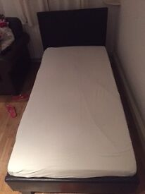 Medium Single bed, lightweight, Leather head board and leather frame