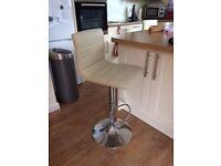 Kitchen Breakfast Bar Stools, colour cream, adjustable height