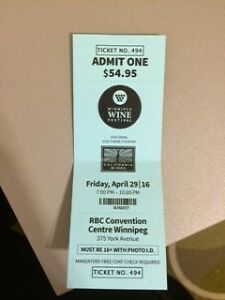 Friday Winnipeg Wine Fest ticket $30