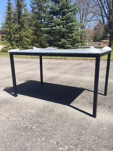Black Chrome and Glass Dining Table
