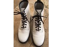 White patent Doc Martin lace up boot size 9
