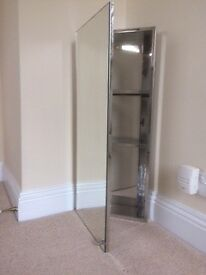 Mirror fronted corner bathroom cabinet