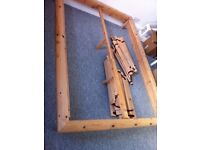 Ikea solid pine bed frame with slats - fits standard UK double mattress 135x190cm