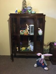 Antique Walnut Display Cabinet $375 or best offer