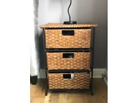 3 Draw Wrought Iron Wicker Bedside Tables (x2)