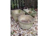 ** 3 COLLECTABLE VICTORIAN CONCRETE GARDEN PLANTERS- very heavy **