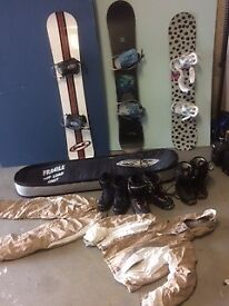 A selection of Snowboards and boots. Job lot. £