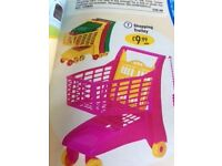 Girls pink shopping trolley