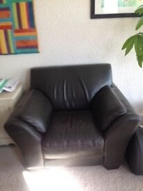 Dark brown leather chair, great condition.