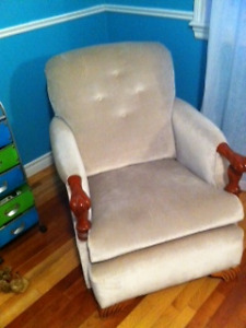 antique chair slider recliner with ottoman