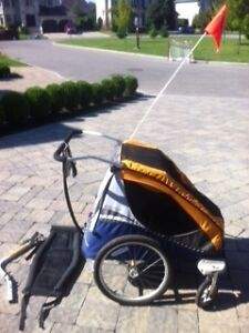 Chariot double with bicycle trailer kit and infant sling