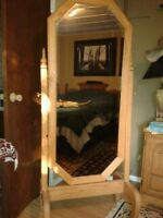 SOLID OAK STANDING MIRROR with Matching WALL MIRROR