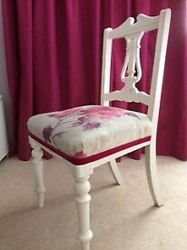 Shabby chic chair painted in warm white
