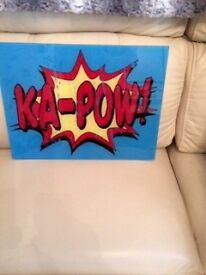 small glass picture great for kids room super hero. nice condition