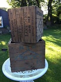 2 genuine vintage Tate and Lyle wooden crates 1920s
