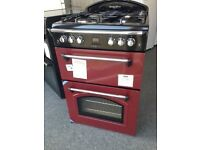 RED LEISURE GOURMENT GAS COOKER 60CM DOUBLE OVEN NEW GRADED 12 MONTHS GTEE RRP £499 ONLY £349