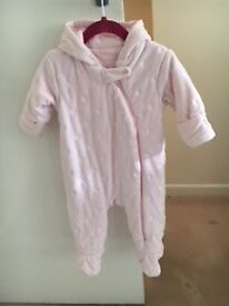 SNOWSUIT GIRLS - by NEXT - PINK w WHITE DOTS - AGE 6 - 9 mths - NEARLY NEW